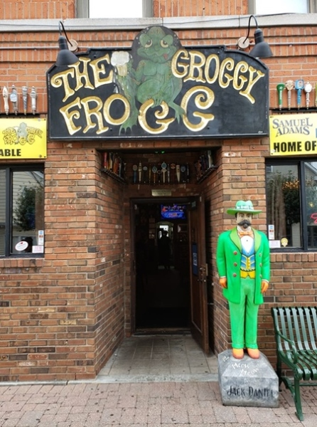 Front entrance to The Groggy Frogg bar in downtown Southington, CT